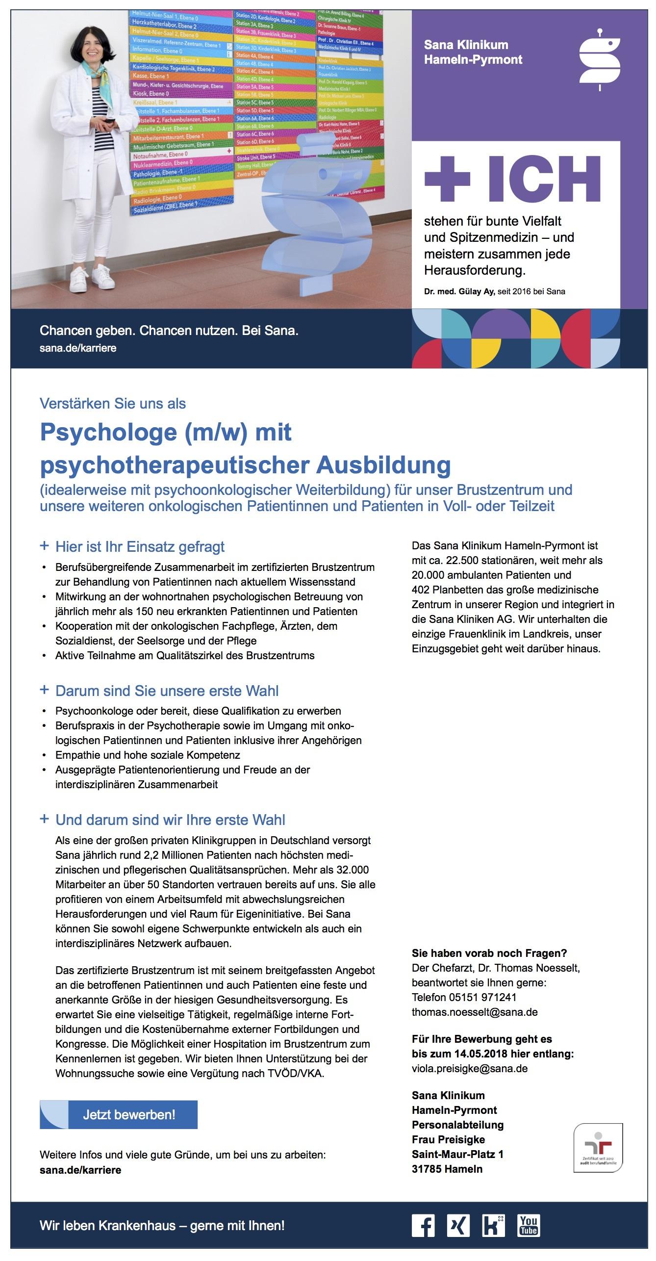 Psychologe (m/w) mit psychotherapeutischer Ausbildung