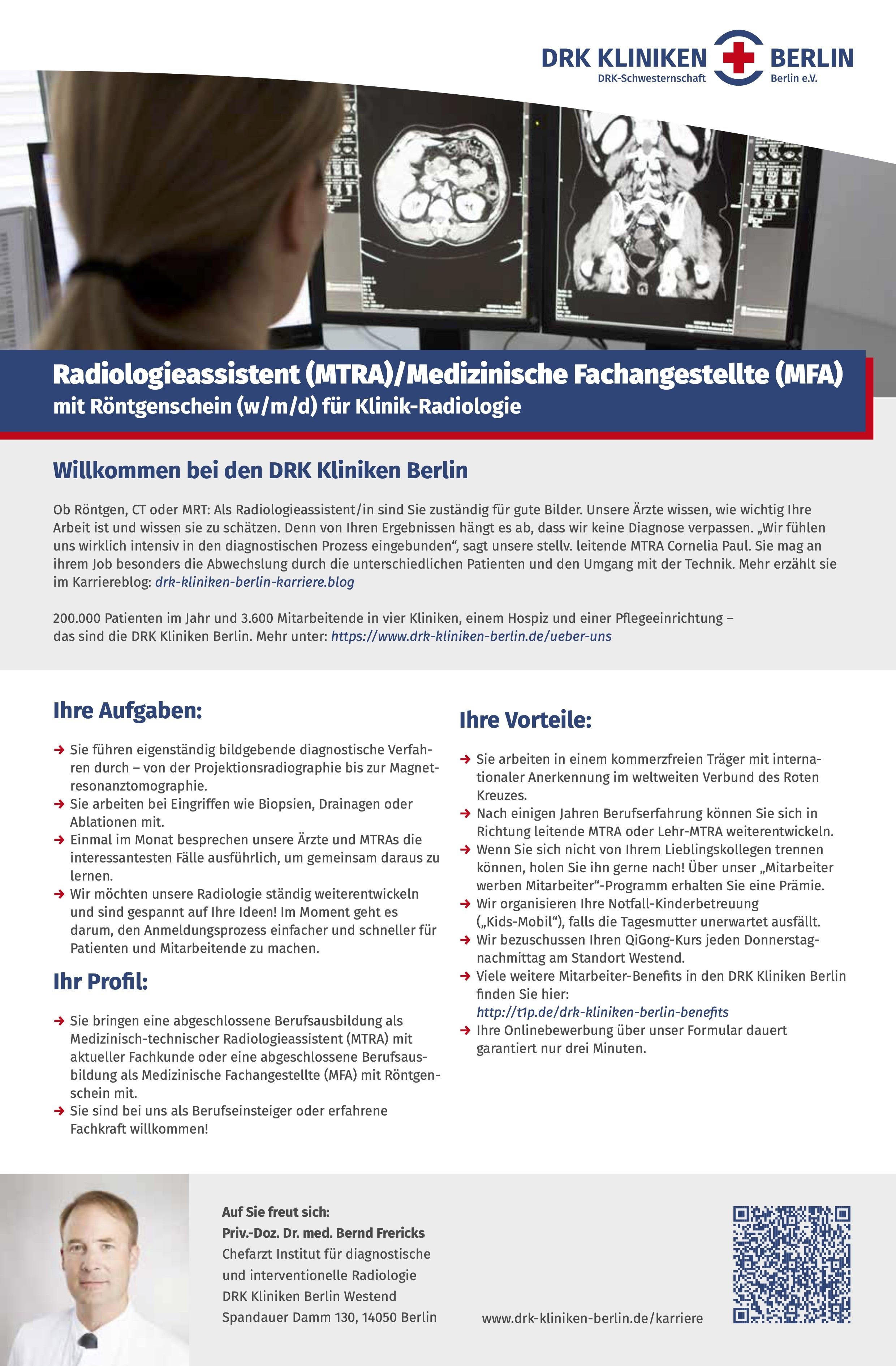 Radiologieassistent (MTRA) / Medizinische Fachangestellte (MFA)