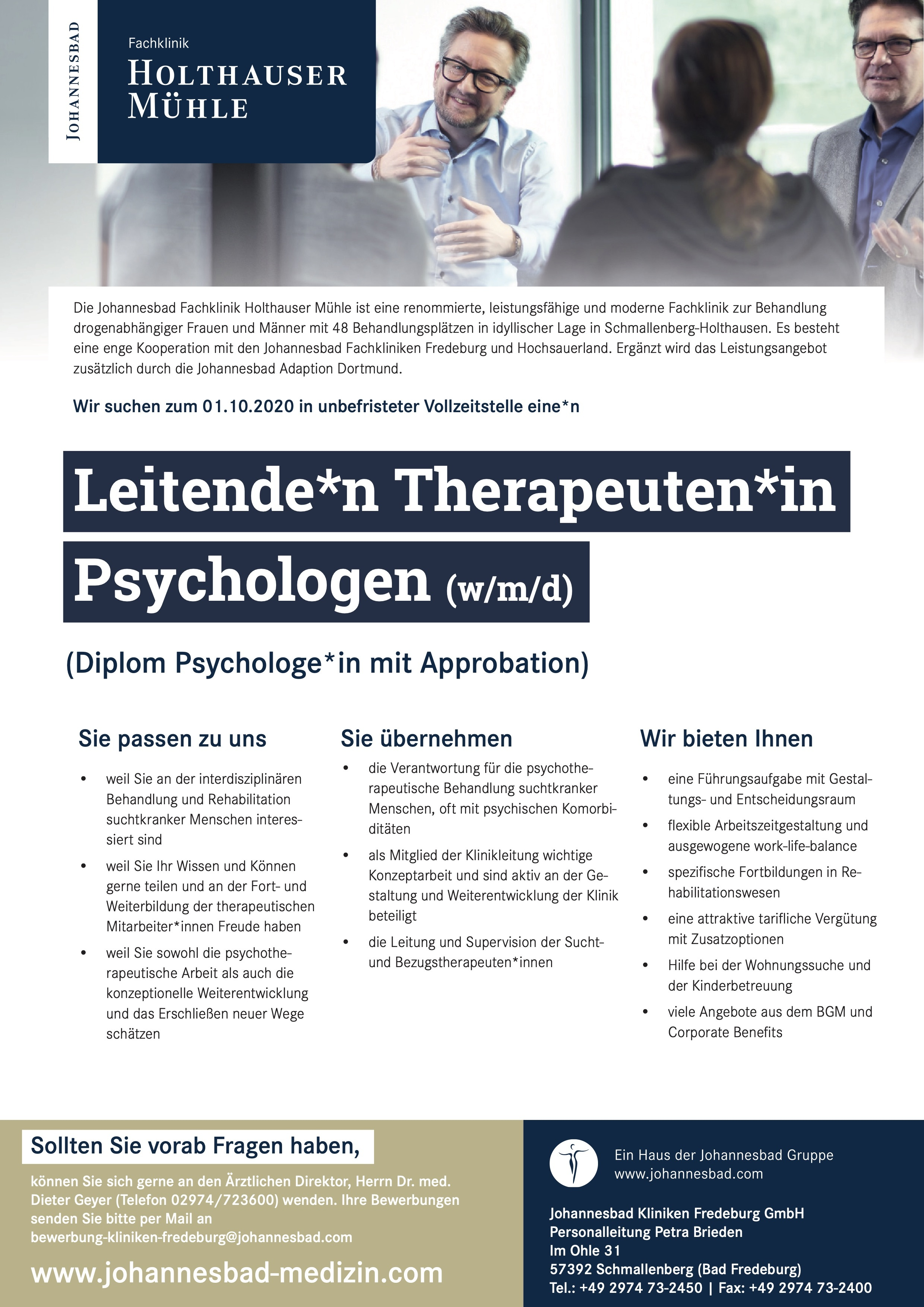 Leitende*n Therapeuten*in Psychologen (w/m/d)
