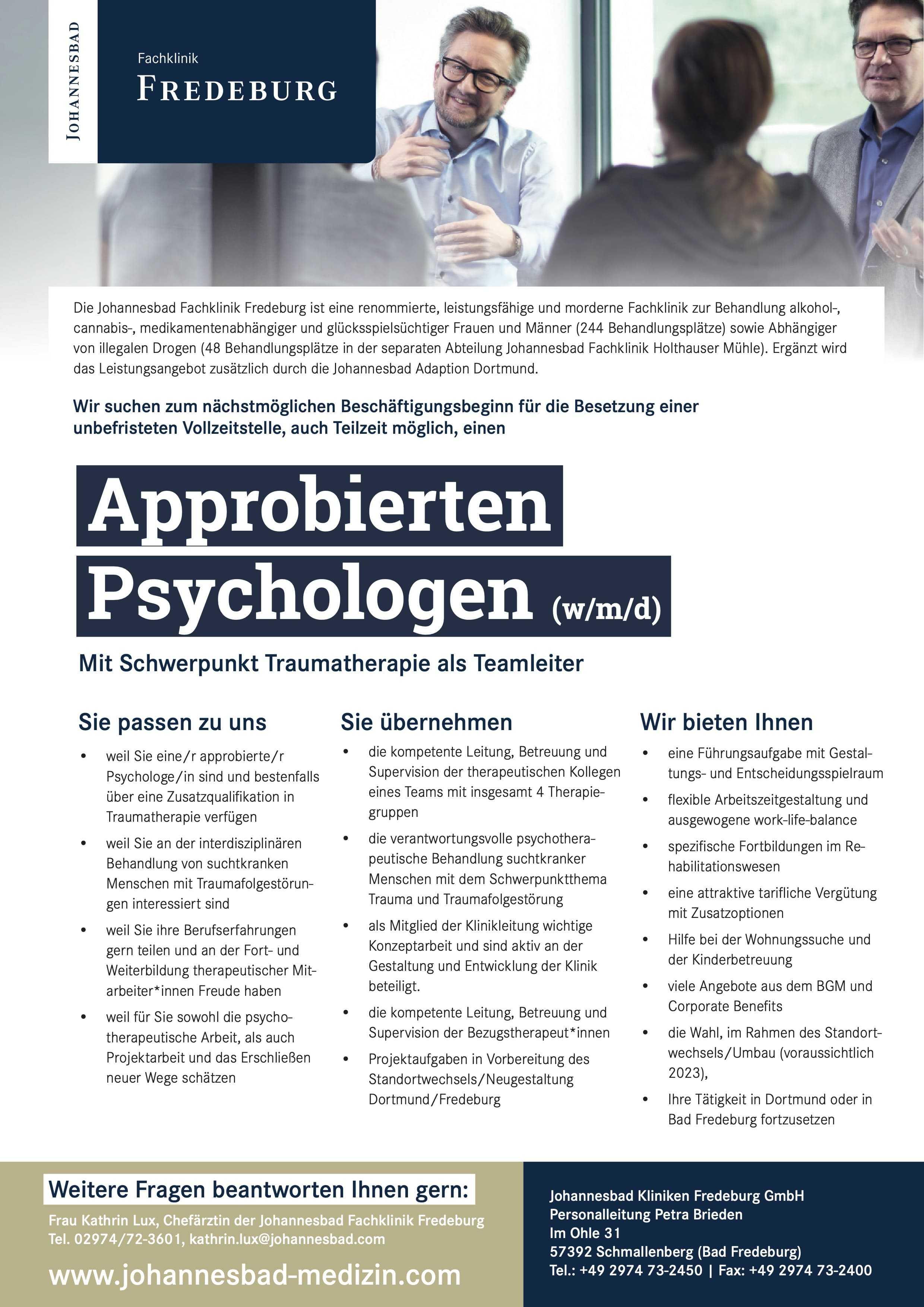 Approbierten Psychologen (w/m/d)