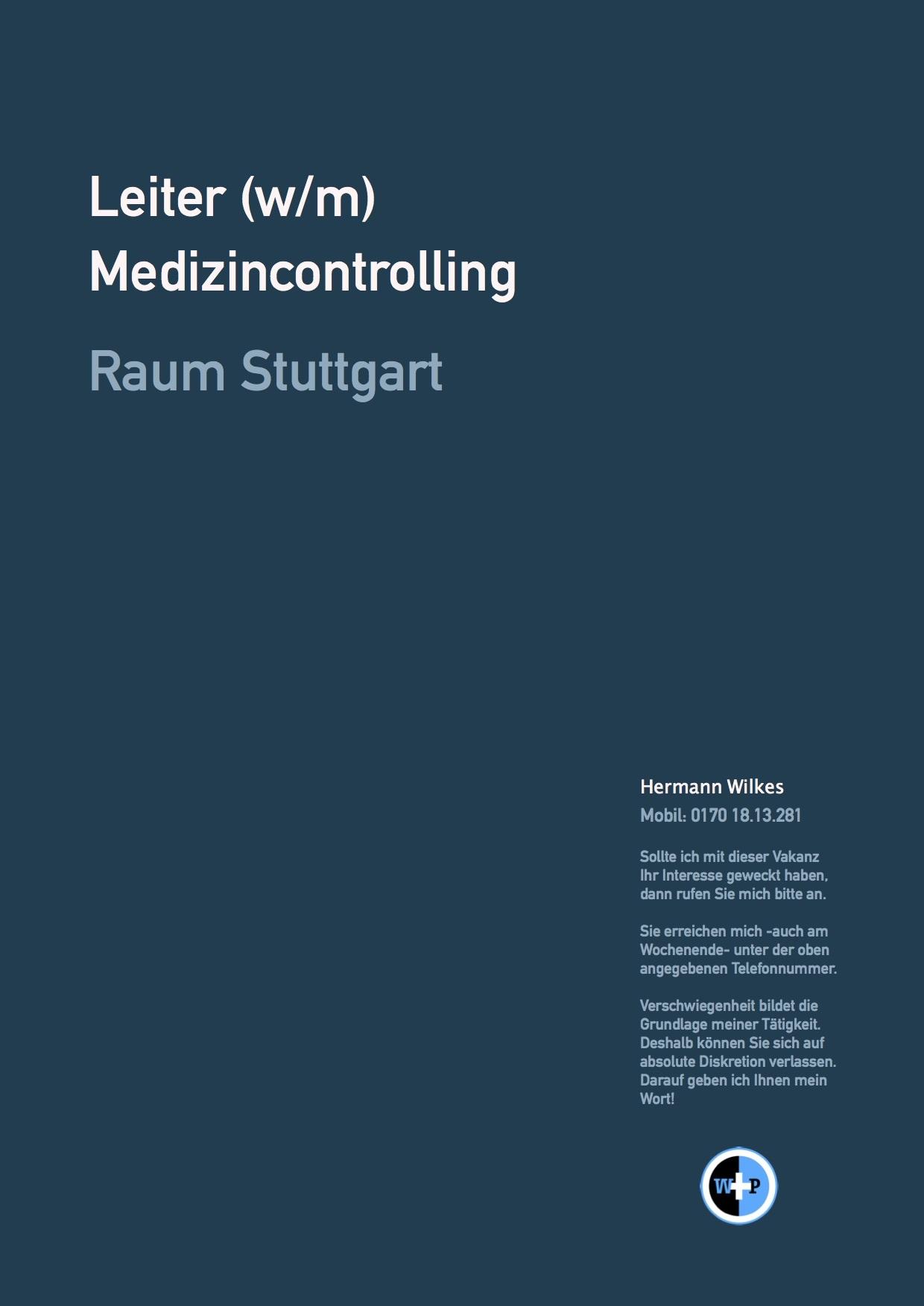 Leiter (w/m) Medizincontrolling - Raum Stuttgart