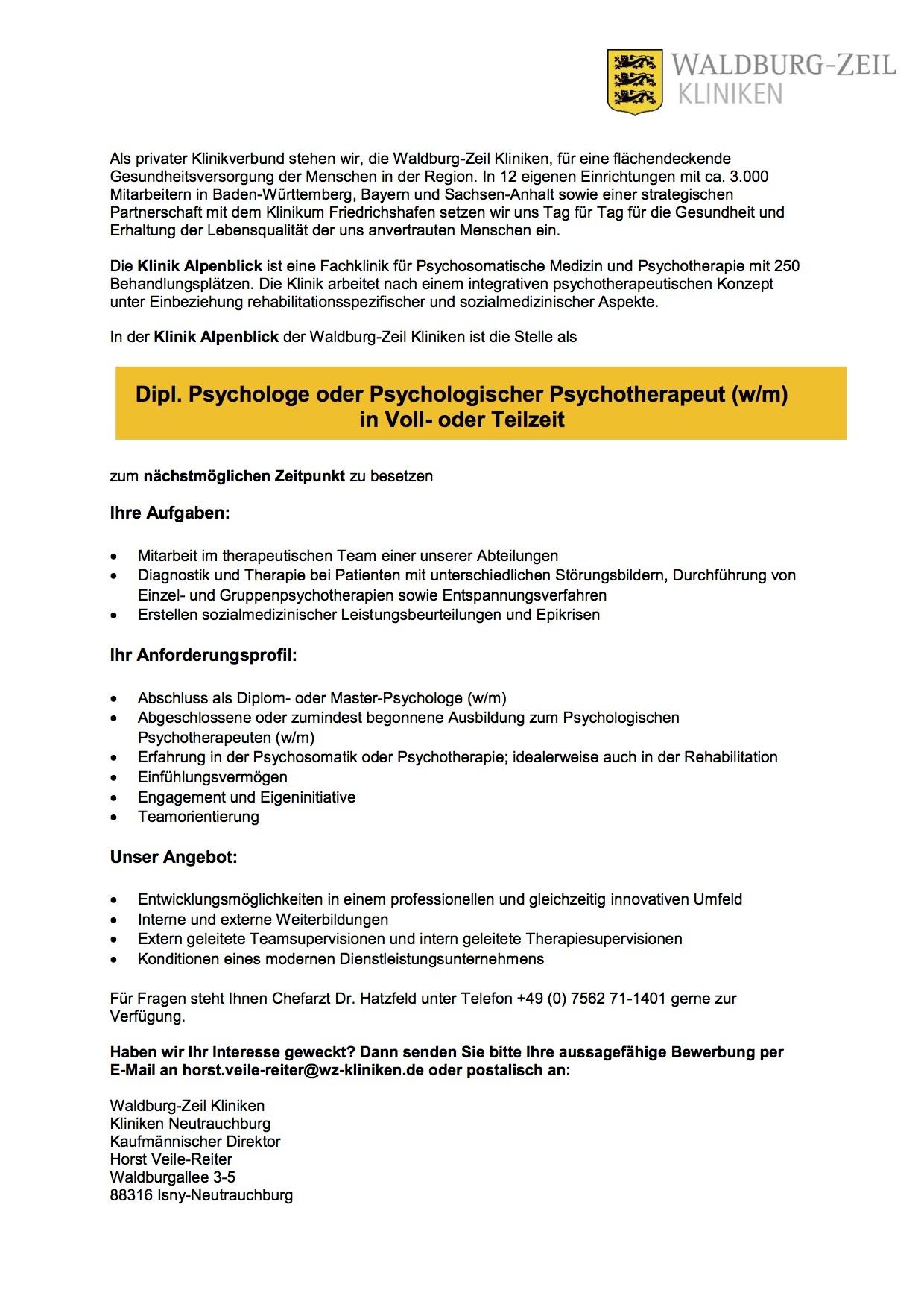 Dipl. Psychologe oder Psychologischer Psychotherapeut (w/m)