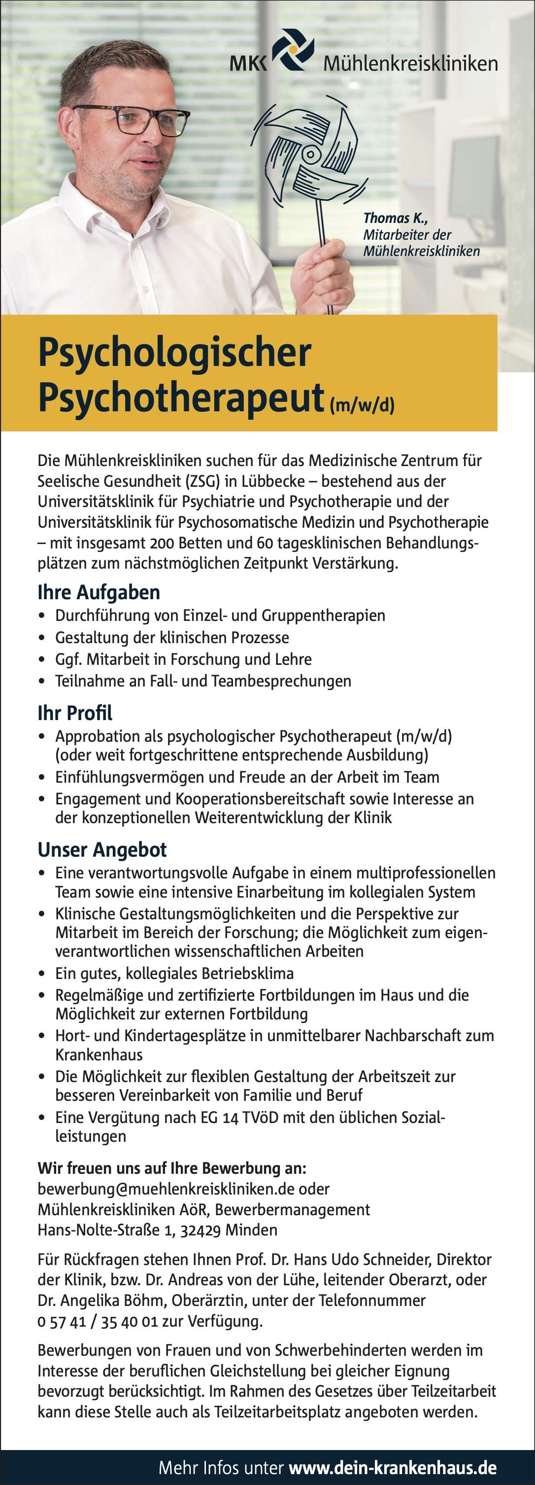 Psychologischer Psychotherapeut (m/w/d)