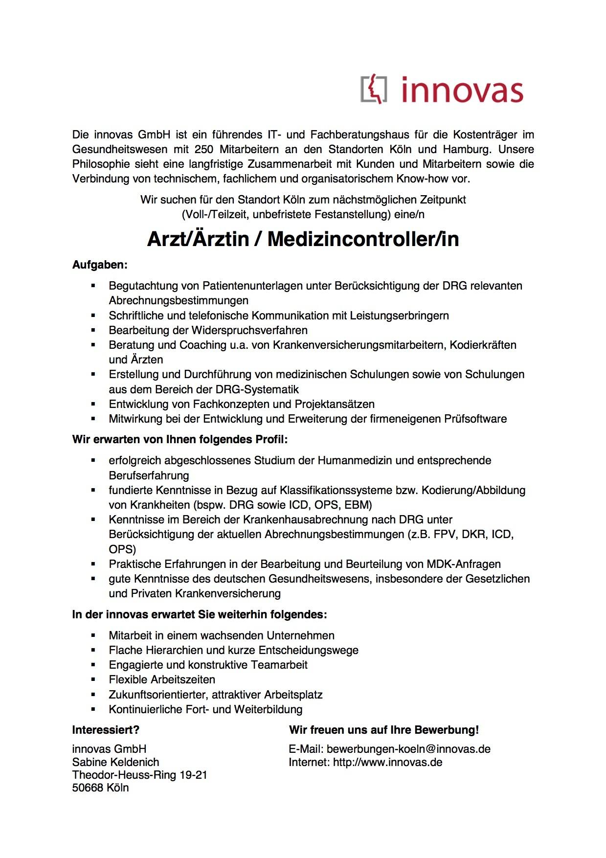 Arzt/Ärztin / Medizincontroller/in